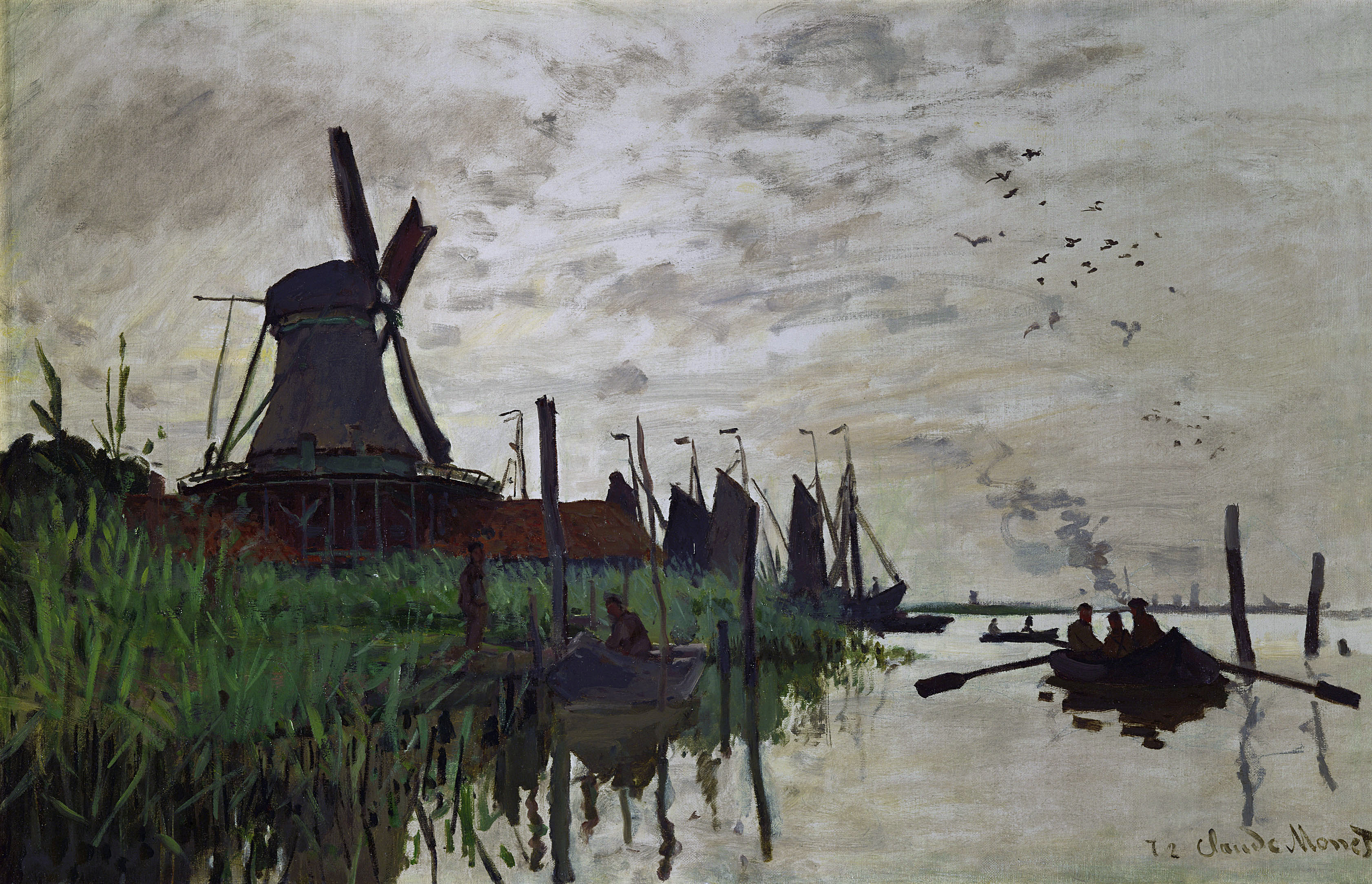 Moulin à Zaandam par Claude Monet, 1871