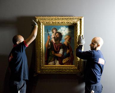 Montage de l'exposition Cima da Conegliano, Maître de la Renaissance vénitienne